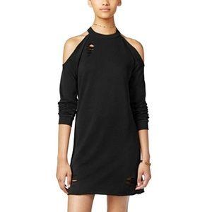 Destroyed sweatshirt dress cold shoulder NWT